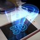 image of 3d hologram floating about smartphone